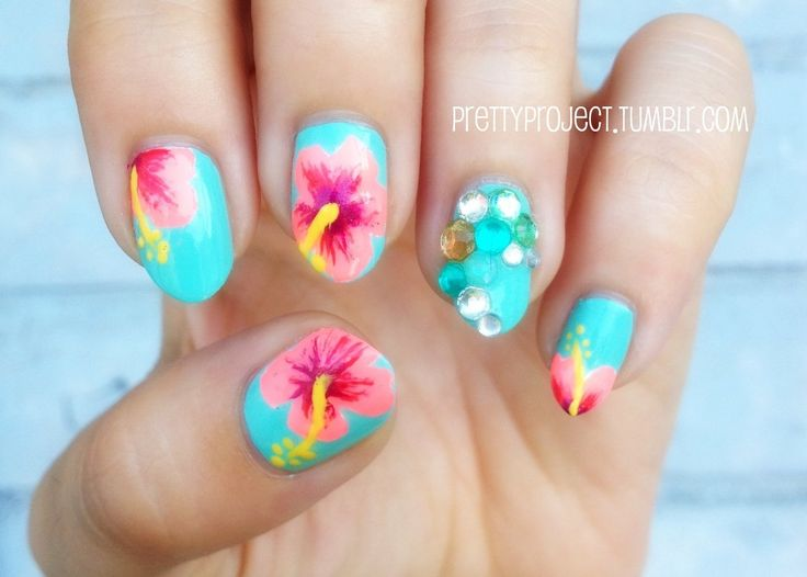 Best 25+ Tropical flower nails ideas on Pinterest