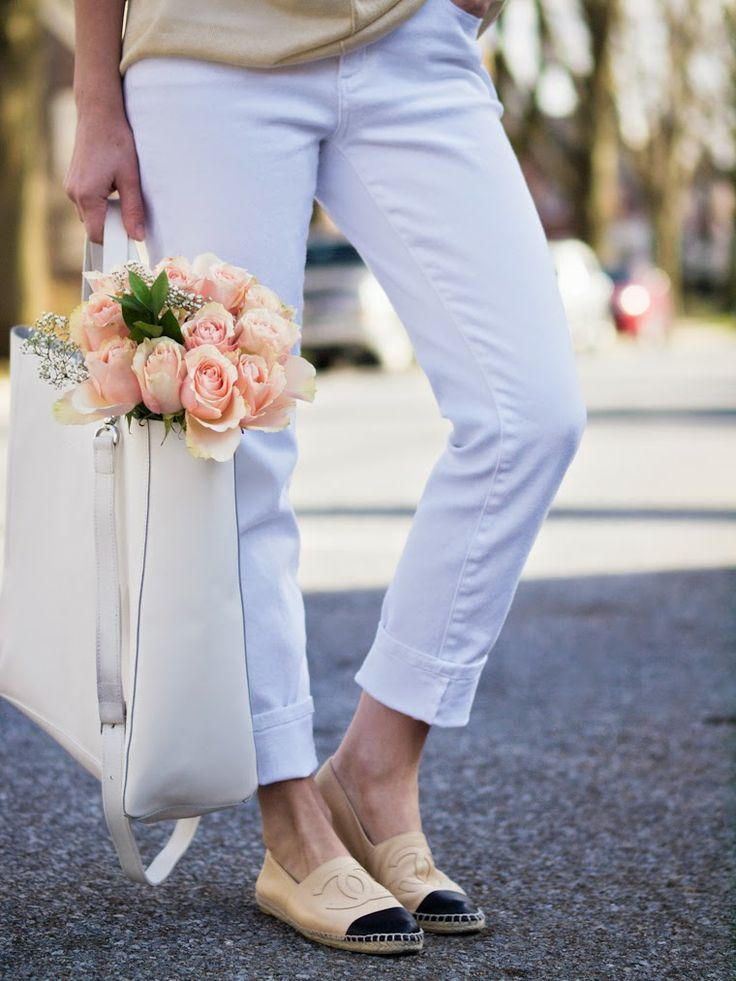 white jeans, flowers, espadrilles | Espadrilles | Pinterest ...