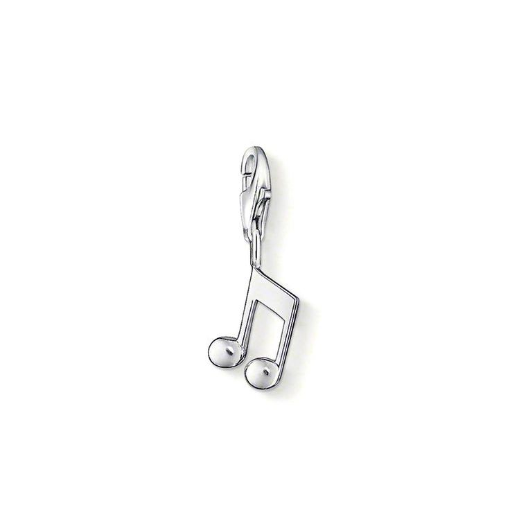 """Charm-hängsmycke """"not"""" med karbinhake 925 sterlingsilver Oavsett om du är pianist eller sångare är det ett måste för alla musikaliska Charm Club-fantaster att bära denna not i sitt armband. Storlek: 1,4 cm"""