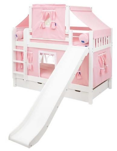 Best Maxtrix Playhouse Tent Bunk Bed W Slide Pink White On 640 x 480