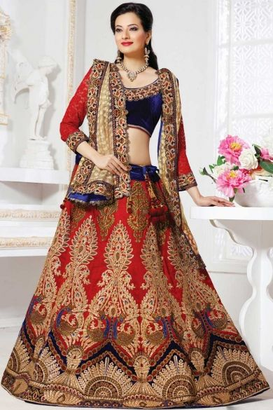 Designer Embroidered Wedding Lehenga Choli; Sapphire Blue and Venetian Red Raw Silk Embroidered Wedding and Bridal Lehenga Choli
