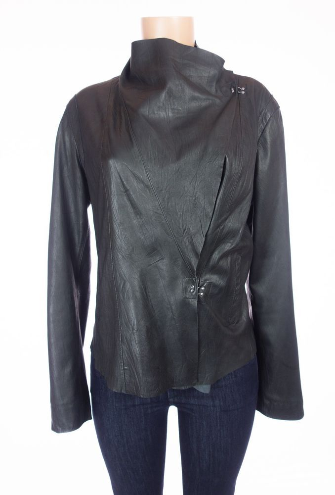 MY TRIBE Leather Jacket L Black Draped Moto Asymmetrical Lagenlook Thin $425 #MyTribe #Draped