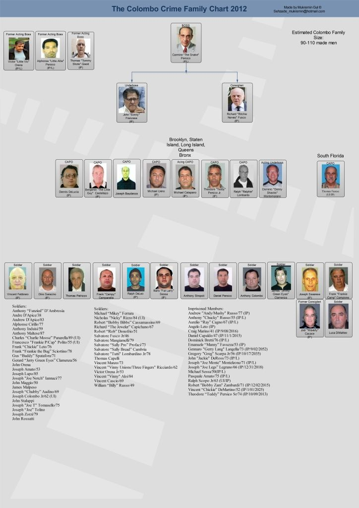 Colombo Crime Family Leadership Chart - New York Mafia