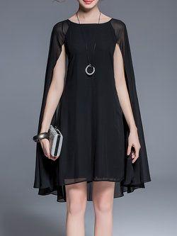 Black Bateau/boat Neck Plain Work A-line Midi Dress