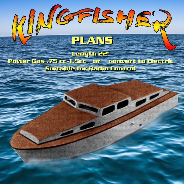 """Full Size Printed Plans cabin cruiser Boating for Beginners' KINGFISHER L 22"""" Suitable for Radio Control"""
