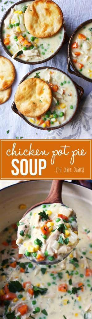 Easy Chicken Pot Pie Soup - The thickest, creamiest, heartiest, and MOST comforting bowl of soup you will ever eat! #soupsundaycollab --http://TheGarlicDiaries.com