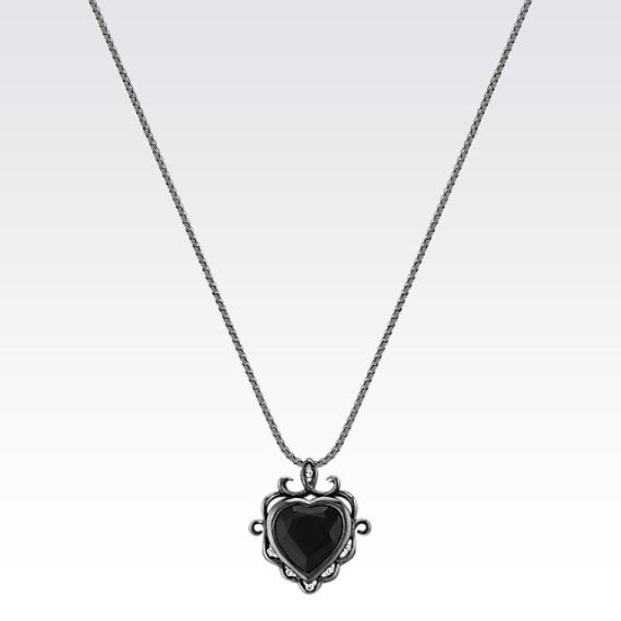 For a dark and mysterious look, wear this intriguing heart-shaped black sapphire and diamond pendant. #ShaneCoChic #ShaneCo