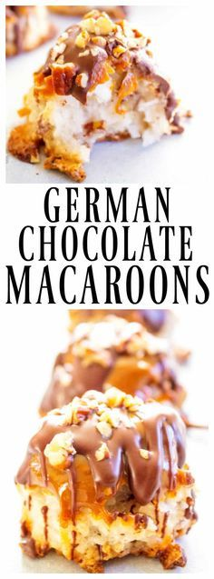 GERMAN CHOCOLATE MACAROONS - Loaded with coconut & pecans, dipped in caramel & drizzled with chocolates this drool worthy cookies is a holidays must have. #chocolate #germanchocolate #macaroons #holiday #cookies
