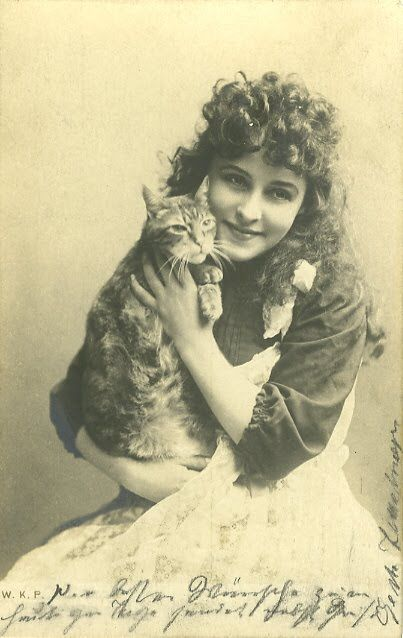 vintage cat and woman postcard