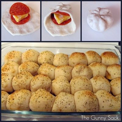 PIZZA BALLS! 3 cans Pillsbury Buttermilk Biscuits (10 per can), 56 pepperoni slices, block of Colby cheese, 1 beaten egg, Parmesan, Italian seasoning, Garlic powder, 1 jar pizza sauce…Cut the block of cheese into 28 squares. Flatten a biscuit out and stack pepperoni and cheese on top. Gather up the edges of the biscuit. Line up the rolls in a greased 9x13 in. pan. Brush with beaten egg. Sprinkle with parmesan, Italian seasoning and garlic powder. Bake at 425°F for 18-20 minutes..