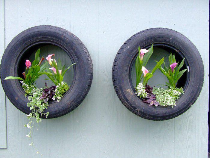 Gartendeko ideen alte autoreife tolle wandregale pflanzen for Tolle dekoration