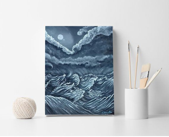 Moon painting, Sea waves painting, Art, Canvas painting, Oil painting, Mothers day gift, Black and white painting, Wall decor