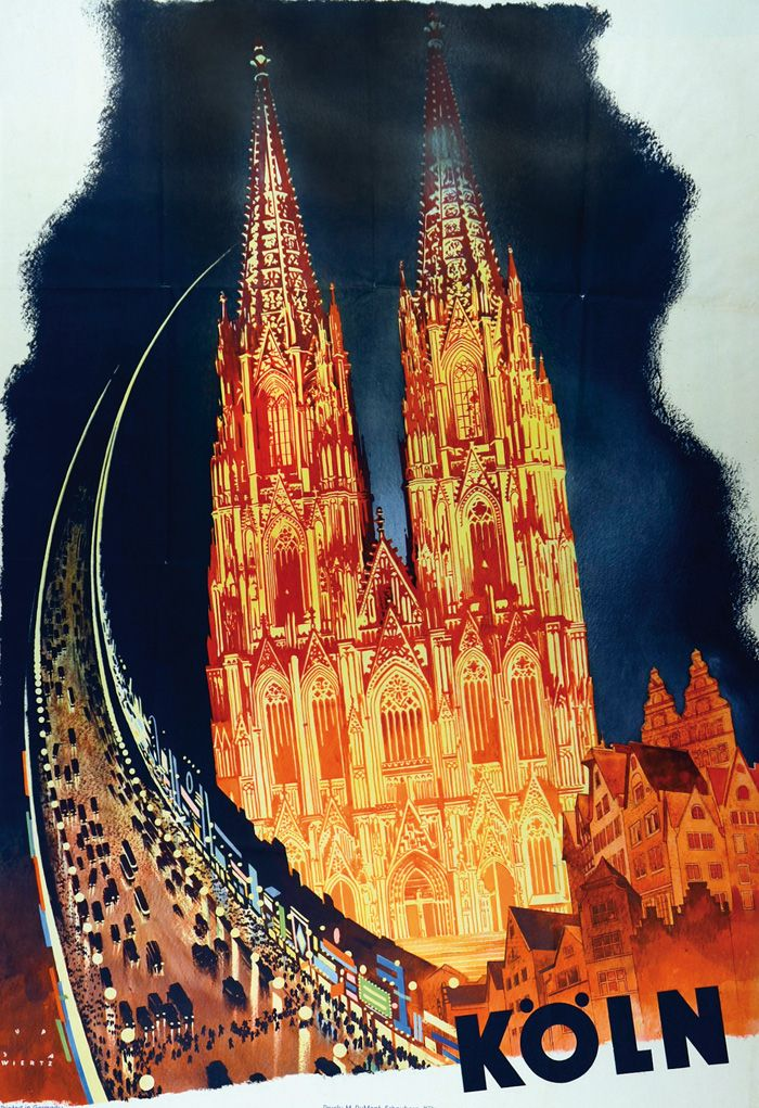 Jupp Wiertz, travel Poster Köln / Cologne, 1930. Nosbüsch & Stucke Auktion