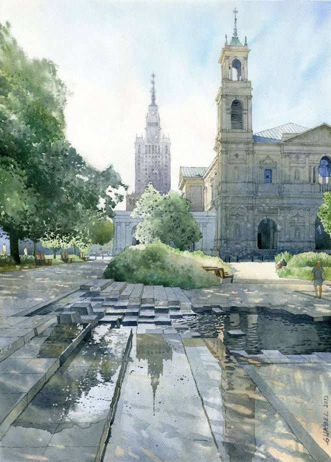 """Grzybowski Plaza Warsaw"" By Grzegorz Wróbel - Watercolors / Akwarele, from Poland (b. 1983) [Architect and Watercolor Artist] - watercolor"