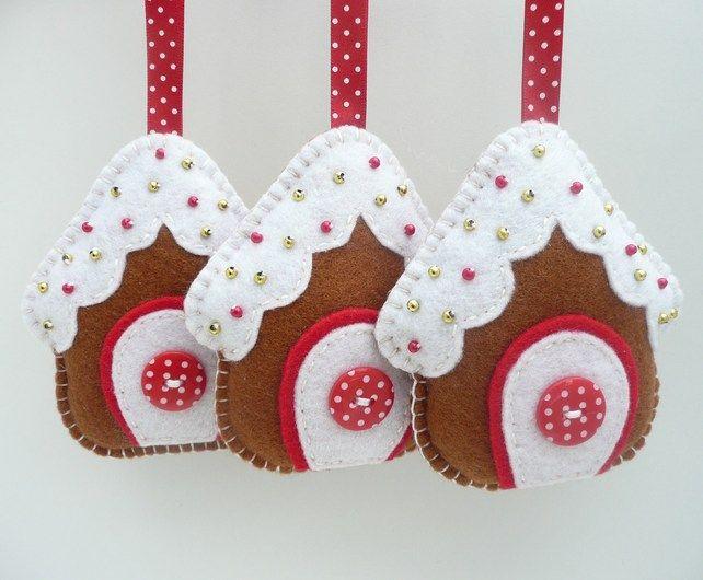 Gingerbread House Felt Hanging Decorations - Folksy