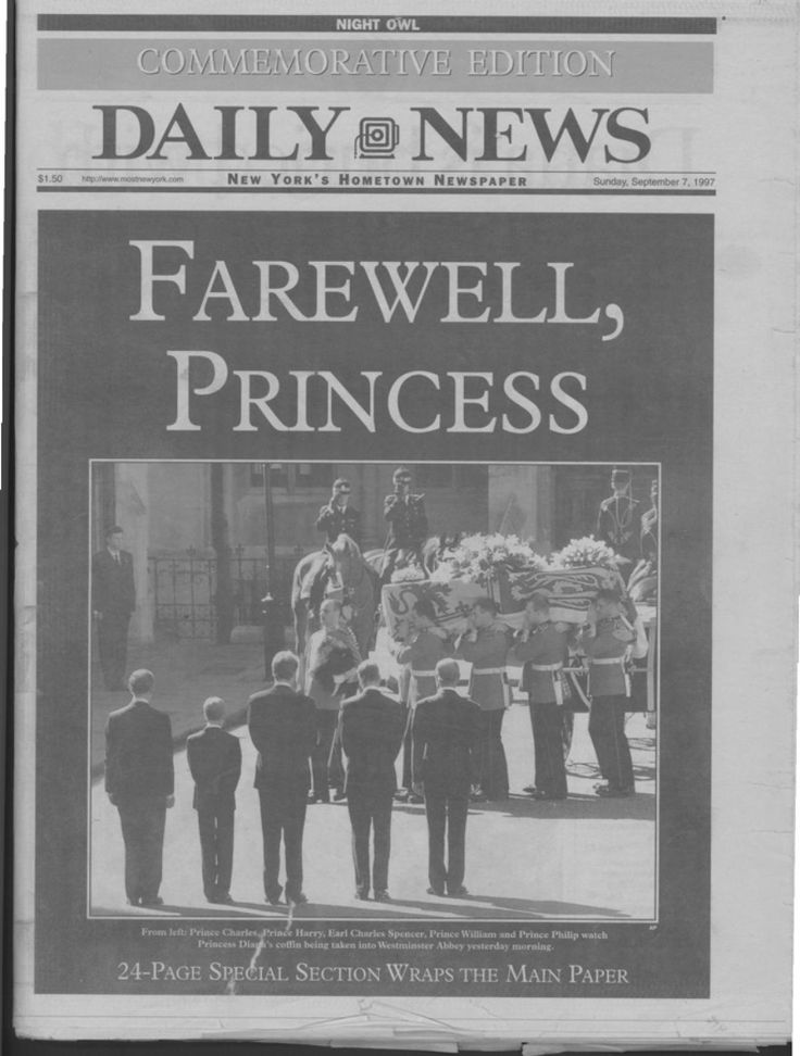 DIANA, PRINCESS OF WALES - Princess Diana's funeral makes the front page of the New York Daily News on Sept. 7, 1997. The ceremony took place one day earlier at Westminster Abbey on Sept. 6.