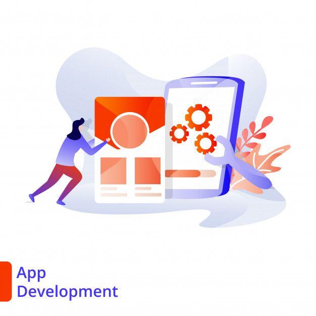 Landing Page App Development Illustration Modern Digital Marketing App Development Graphic Design Background Templates Marketing Concept