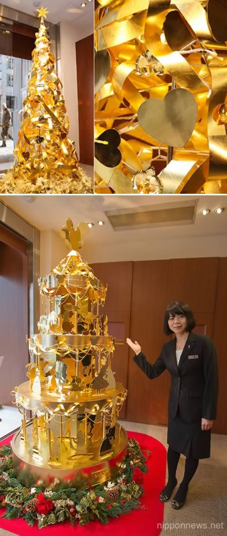 Japanese jeweler Ginza Tanaka, which specializes in gold accessories, showcases their 2.4 meter high gold Christmas tree, in collaboration with Walt Disney Japan, in commemoration of Walt Disney's 110th anniversary. The tree is made of 88 pounds of gold which consists of 50 popular Disney characters. The selling price is 350 million Japanese yen (approximately 4.2 million US dollars).