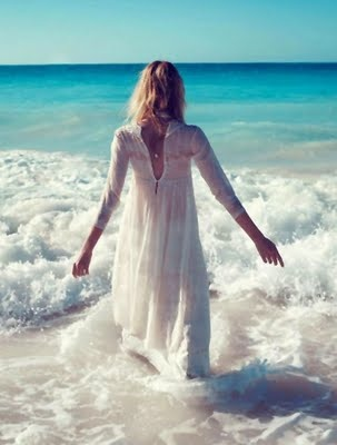 """""""...to the shores, of freedom, where no one lives"""": At The Beaches, Summer Dresses, Beaches Dresses, The Ocean, Planets Blue, Into The Blue, White Dresses, The Waves, The Sea"""