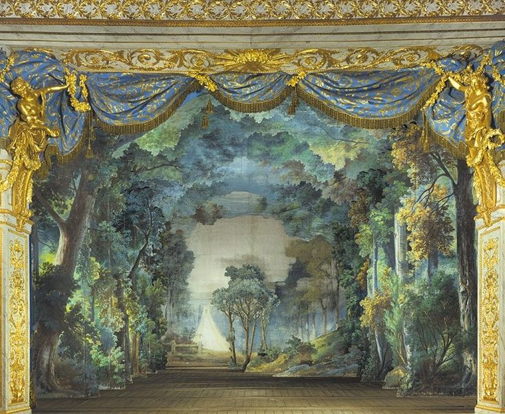 The stage set of the forest in the opera Le Roi et le fermier.The Queen's Theater in Marie-Antoinette's Estate. In 1780, Le Roi et le fermier by Pierre-Alexandre Monsigny was performed by...