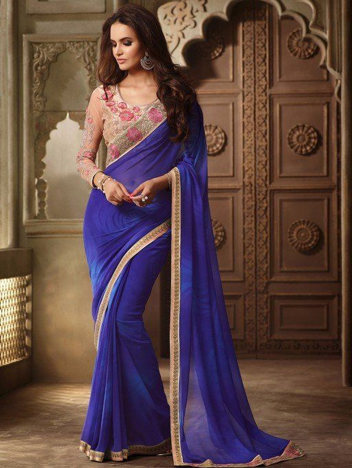 Blue Georgette Saree with Lace Work