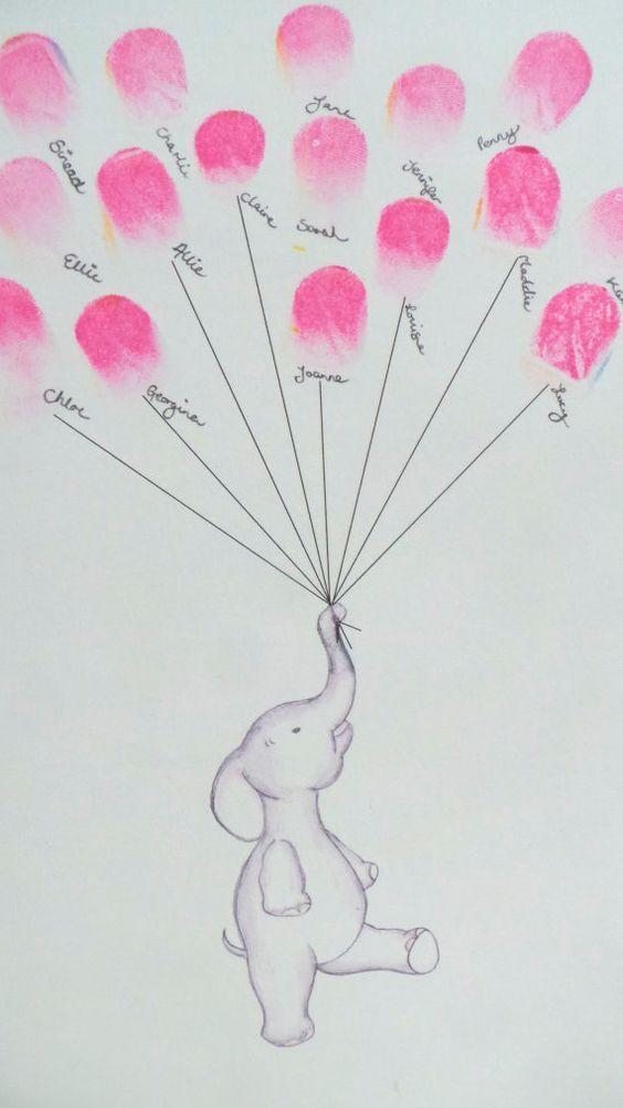 Baby-Dusche-Gästebuch Andenken Kunst Elefanten von mylovebubble
