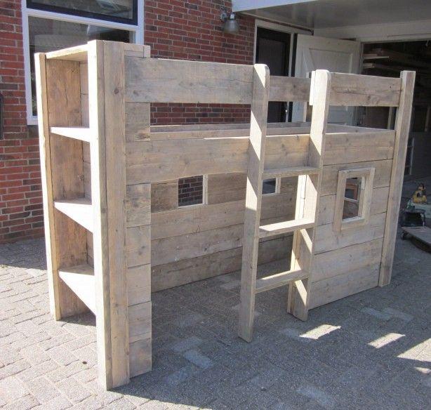 Renzohoutwerk hoogslaper met hut van stijgerhout renzohoutwerk at ziggo punt nl kinderkamer - Hoogslaper met geintegreerde garderobe ...