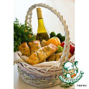 Деревенские роллы с печеным баклажаном и перцами