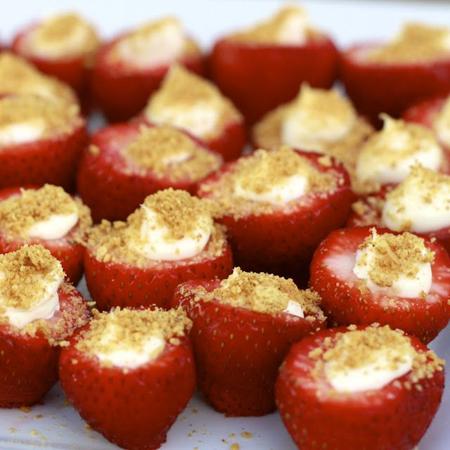 Cheesecake Stuffed Strawberries - Ingredients: -1 lb large strawberries -8 oz. cream cheese, softened (can use 1/3 less fat) -3-4 tbsp powdered sugar (4 tbsp for a sweeter filling) -1 tsp vanilla extract -graham cracker crumbs