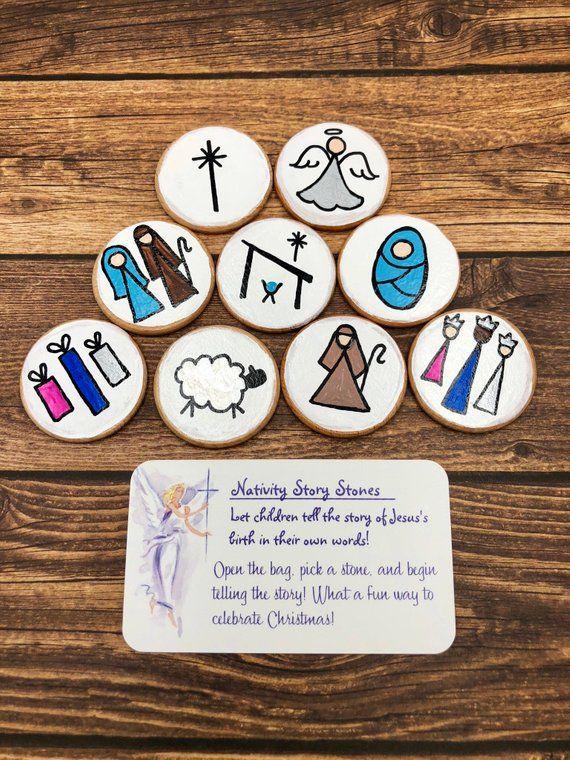 Nativity Story Stones on Wooden Discs, Nativity Story Starters