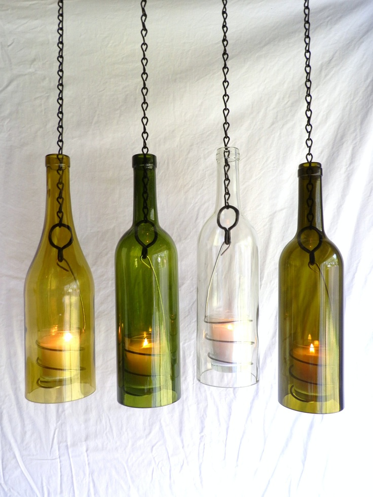 Glass wine bottle candle holder hanging hurricane lantern for Champagne bottle candle holders