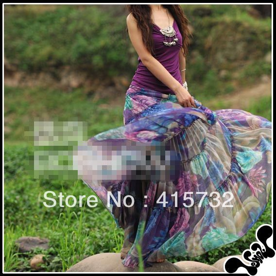 Free Shipping 2013 New Arrival Fashion Long Chiffon Skirt Floral Printed Maxi Boho Skirts For Women Plus Size Bohemian Skirts US $80.00