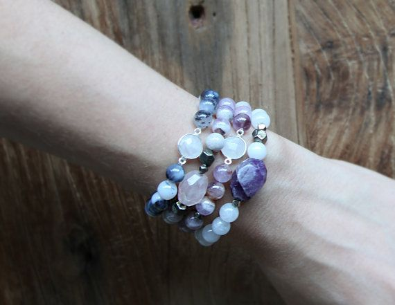 Milky white quartz and rough amethyst beaded stacking bracelet by Rosehip Jewelry