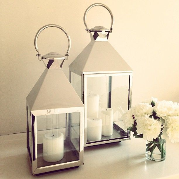Lanterns silver decor lighting candles flowers home Home decor lanterns