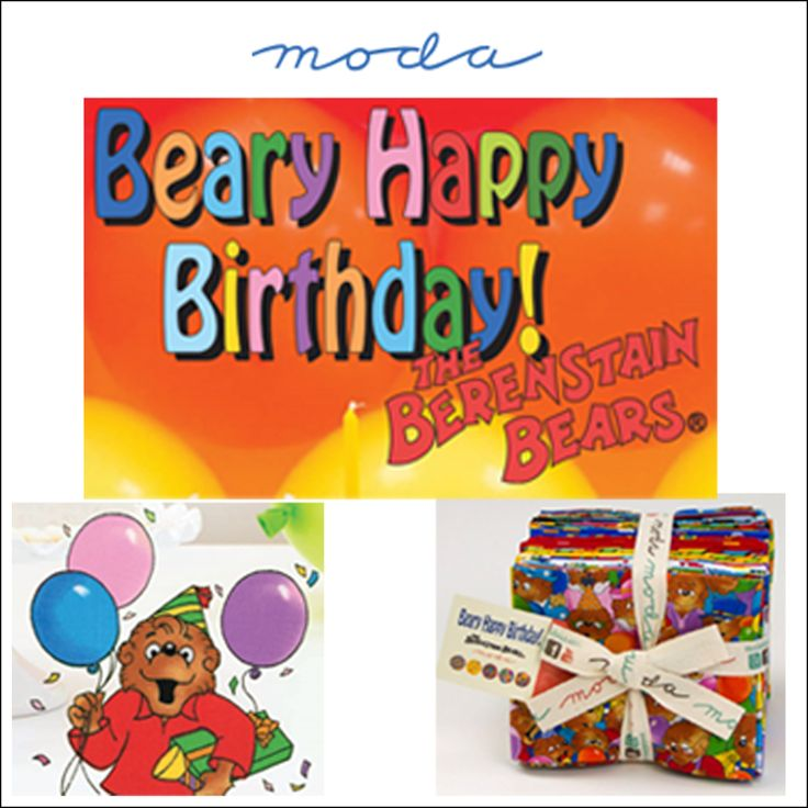 Moda BEARY HAPPY BIRTHDAY Fabric by The Berenstain Bears - Looking forward to seeing finished projects!