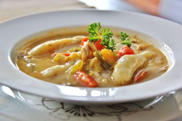 jamaican pumpkin chicken soup with spinners  dumplings