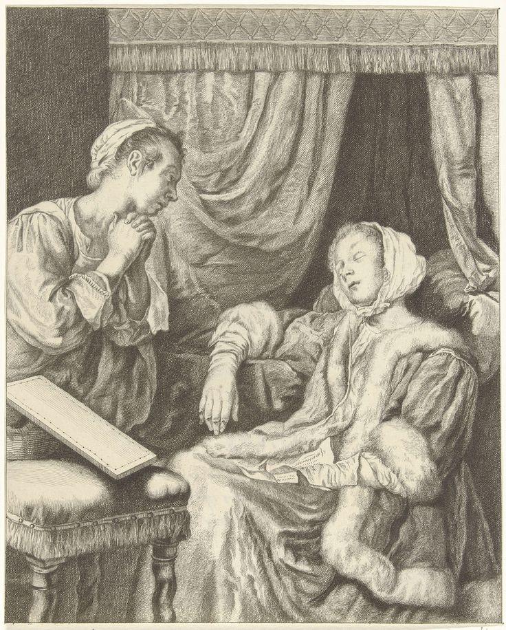 Christiaan Josi | Interieur met twee vrouwen, Christiaan Josi, 1821 | Interieur met een slapende vrouw bij een ledikant. Op haar schoot ligt een brief. Haar dienstmeisje kijkt toe.