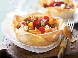 Ratatouille-Chorizo-Tarteletts (mit 250 g Strudelteigblätter, Filo- oder Yufkateig)