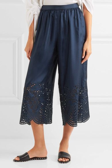 Alice Olivia - Eden Cropped Broderie Anglaise-trimmed Silk-satin Pants - Navy - US