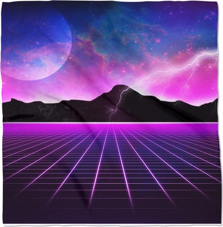Electric Universe Bandana  Clothing 1980's vintage style rad awesome vaporwave Japan Hip Hop Street Style Wear music nostalgia purple pink glow grid time travel sci fi blue moon lightning