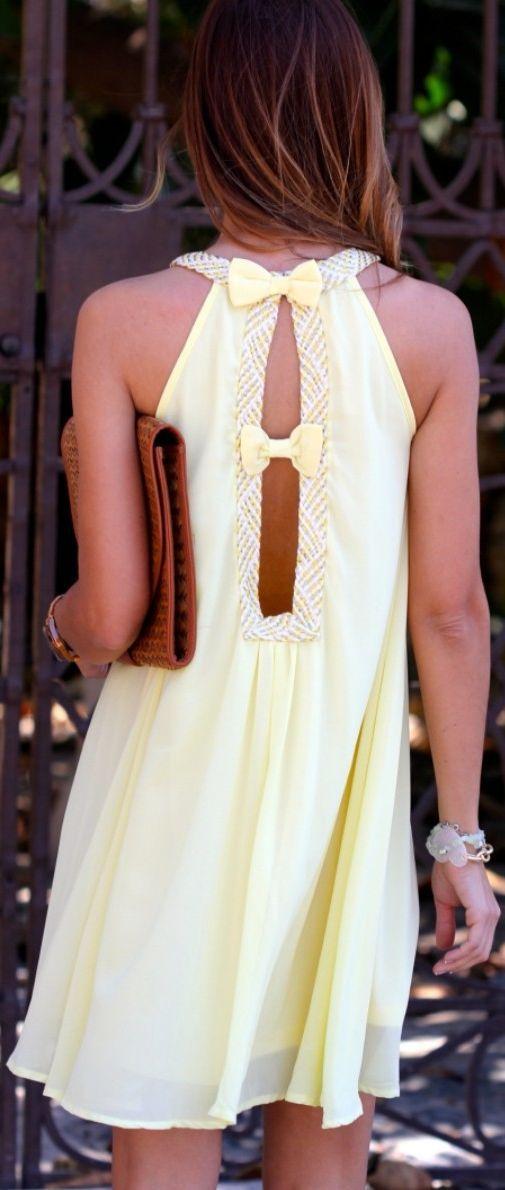 Kuka & Chic Light Yellow Bowed Open Back Layered Chiffon Dress