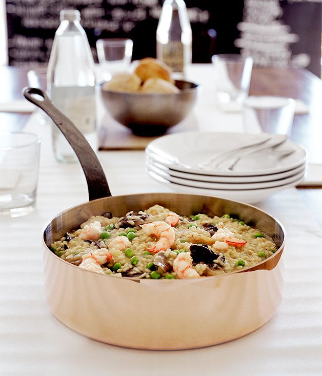 Australian Gourmet Traveller fast recipe for prawn risotto with sweet spring peas and treviso radicchio