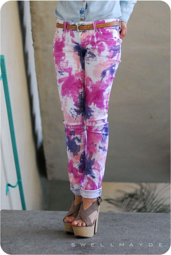 swellmayde's DIY Tie Dye Denim - see more of our Top 5 DIY Jeans here http://blog.mjtrim.com/2012/06/03/top-5-diy-jeans/
