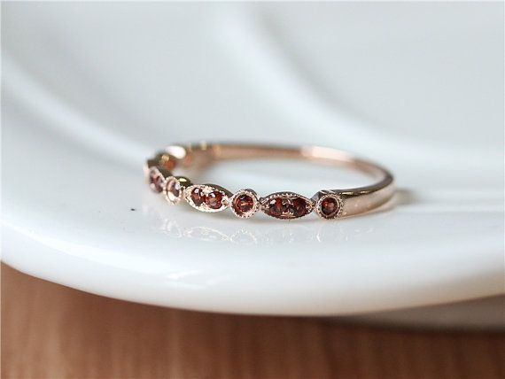 January Birthstone/14k Rose Gold Red Garnet Band with Milgrain Details/Half Eternity Garnet Band/Anniversary/Garnet Wedding Ring/Match Band
