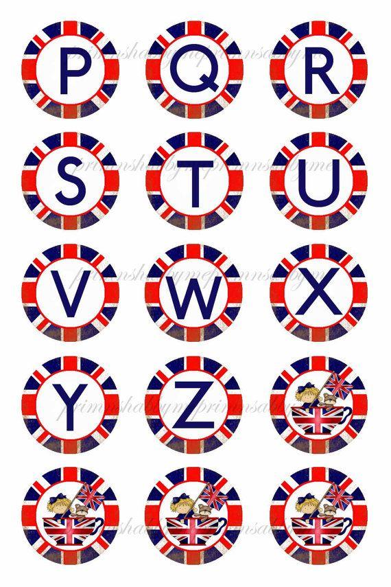 Britische Flagge Alphabet Buchstaben Bottle Cap von primnshabbyme