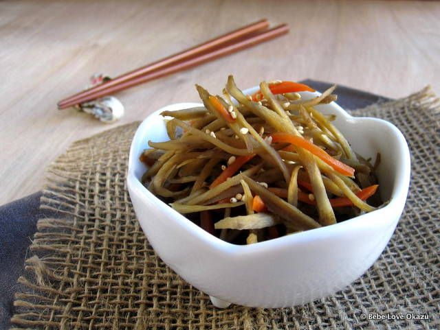 Kinpira gobo is a traditional Japanese side dish made of gobo (burdock root) and carrots. It's both savory and sweet and sometimes has a hint of red chili spice, depending on the cook. While gobo i...
