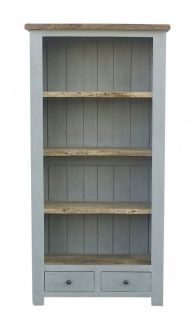 Colorado Country Style Painted Grey / Blue Tall Bookcase With Three Shelves  and Two Drawers