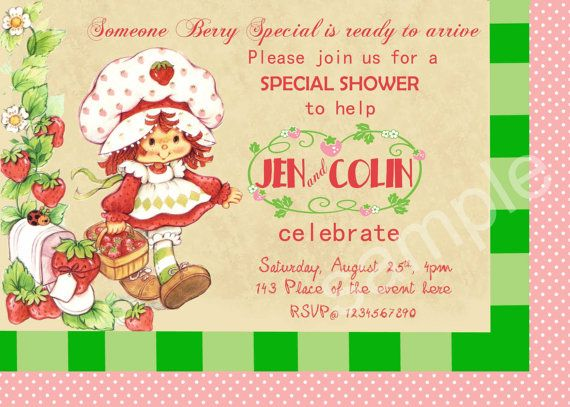 67 best strawberry shortcake baby shower images on pinterest, Baby shower invitations