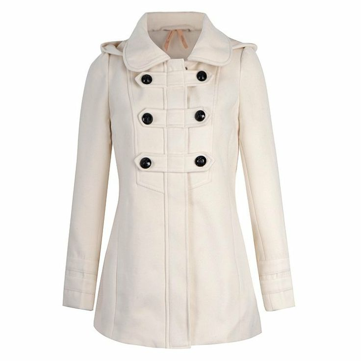 COAT WITH BUTTON FRONT DETAIL AND HOOD