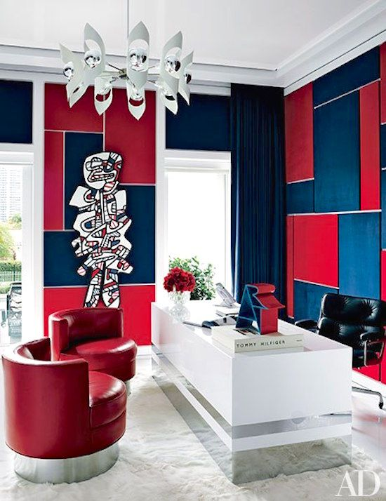 TOMMY HILFIGER'S MIAMI HOME: #contemporary #office workspace using the logo's colors. Stunning!